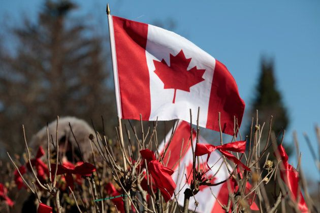 A Canadian flag flies on a Rose of Sharon tree as a tribute honoring the 516 Canadian troops who lost...
