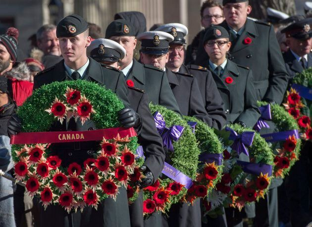 Members of the Canadian Armed Forces participate in Remembrance Day ceremonies at the Grand Parade in...