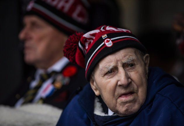 Second World War veteran Patrick Drake, 92, attends a Remembrance Day ceremony in