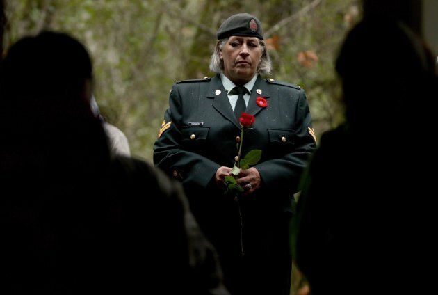 Royal Canadian Navy Master Cpl. Sarah Thomson looks on during the Aboriginal Remembrance Day ceremony...