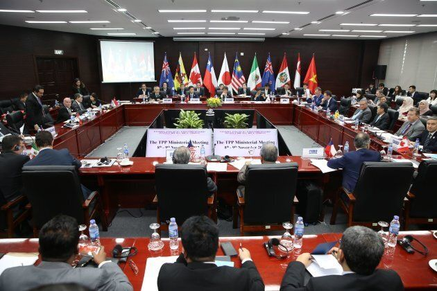 Trade ministers and delegates from the remaining members of the Trans Pacific Partnership (TPP) attend...