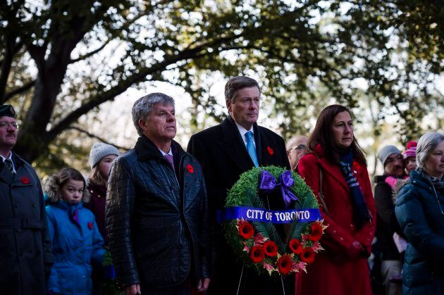 Mayor John Tory attends a Remembrance Day service at Prospect Cemetery in
