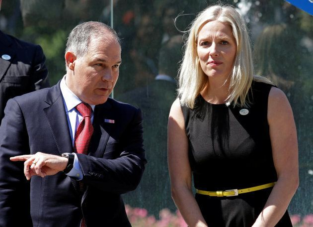Environmental Protection Agency (EPA) Administrator Scott Pruitt talks with Canada's Environment Minister...