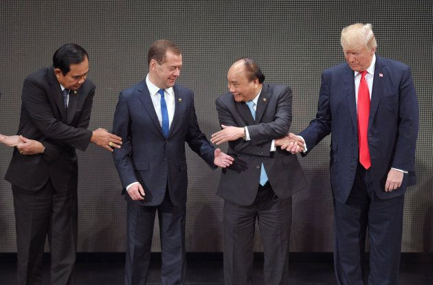Prime Minister of the Kingdom of Thailand Prayuth Chan-Ocha, Russian Prime Minister Dmitry Medvedev, Prime Minister of the Socialist Republic of Vietnam Nguyen Xuan Phuc and U.S. President Donald Trump on Nov. 13, 2017.