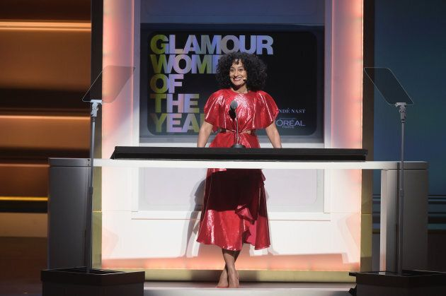 Tracee Ellis Ross speaks onstage at Glamour's 2017 Women of The Year Awards at Kings Theatre on Nov....
