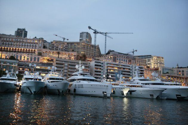Luxury yachts are displayed at the Hercules Port in Monaco for the 27th edition of the International...