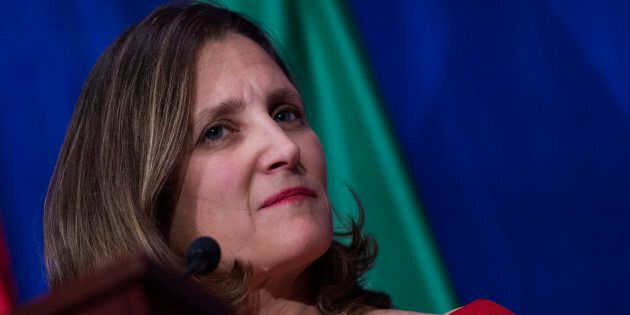 Canadian Foreign Minister Chrystia Freeland speaks during a press conference at the conclusion of the...