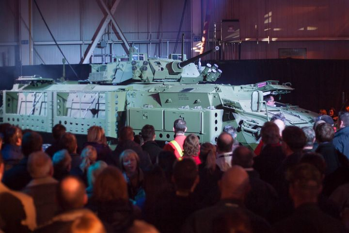 The new upgraded light armoured vehicle is unveiled at a news conference at a General Dynamics facility in London, Ont., on Thursday, Jan. 24, 2012.
