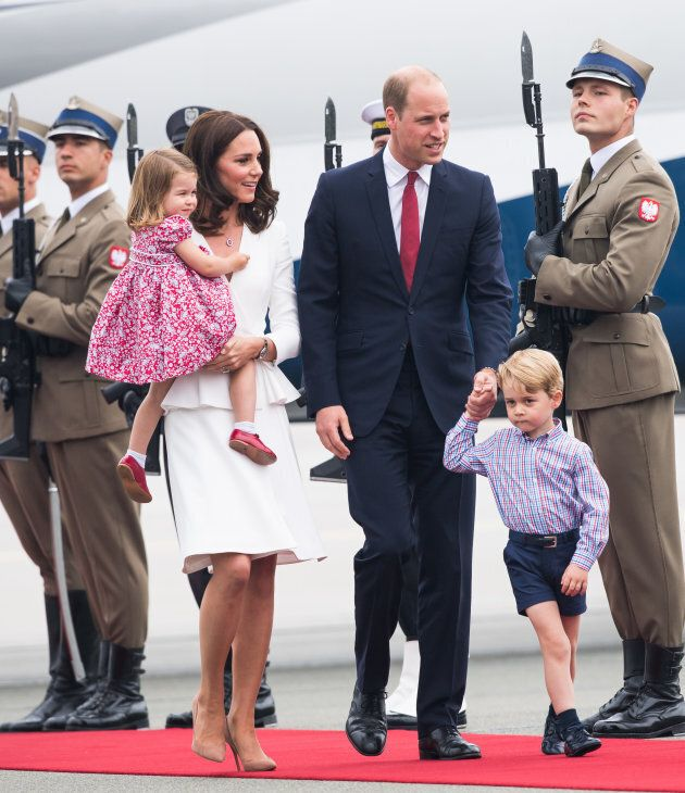 The royal family arrives at Warsaw airport during an official visit to Poland and Germany on July 17,