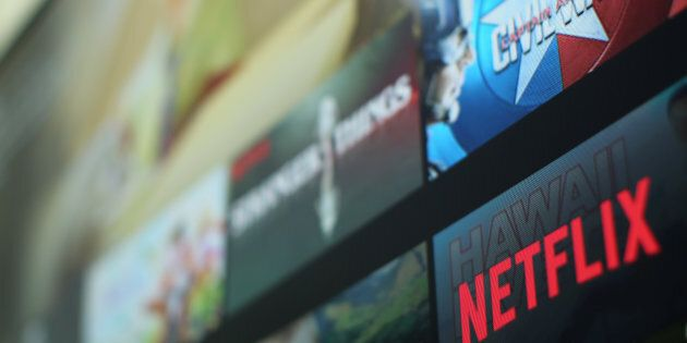 The Netflix logo is pictured on a television in this illustration photograph taken in Encinitas, California,on...