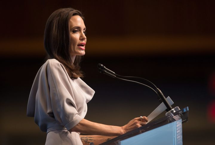 Angelina Jolie gives the keynote address at the United Nations Peacekeeping Defence Ministerial conference on Wednesday.