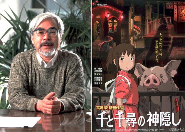 宮崎駿監督と作品ポスター