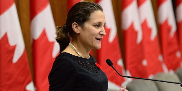 Chrystia Freeland, Minister of Foreign Affairs, makes an announcement on women, peace and security in Ottawa on Wednesday, Nov. 1, 2017.