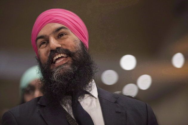 Jagmeet Singh listens to a speech before the announcement he won the first ballot in the NDP leadership...