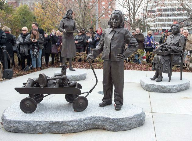 The Halifax Women's History Society officially unveils a bronze monument, The Volunteers/Les Benevoles,...