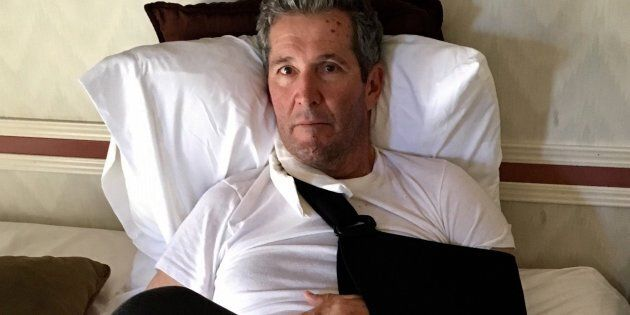 Manitoba Premier Brian Pallister recovers in a hotel in New Mexico in a handout photo provided by the...