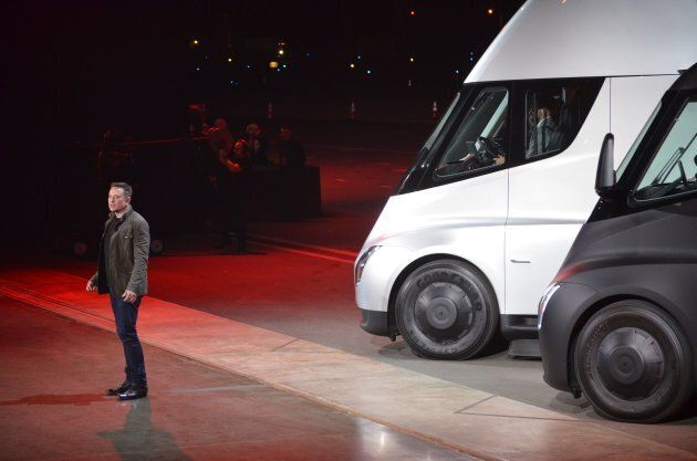 Tesla chairman and CEO Elon Musk unveils the new 'Semi' electric Truck for buyers and journalists on...