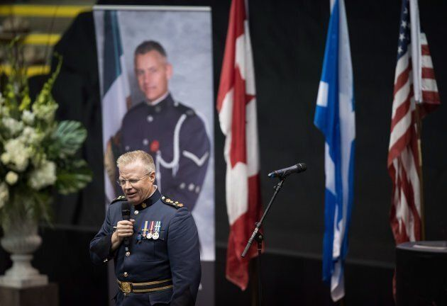 Abbotsford Police Chief Bob Rich speaks about Const. John Davidson, during a memorial service in Abbotsford,...