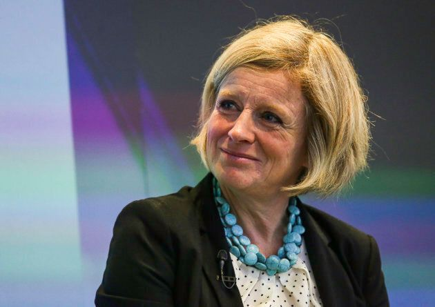 Rachel Notley listens during an interview at the Canadian Fixed Income Conference in New York, U.S.,...