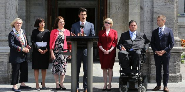Canadian Prime Minister Justin Trudeau speaks to the press outside Rideau Hall after announcing changes to his cabinet in Ottawa on Aug. 28, 2017.