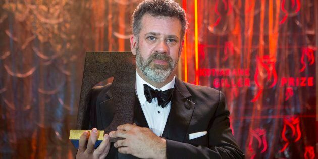 Author Michael Redhill celebrates winning the 2017 Giller Prize for his