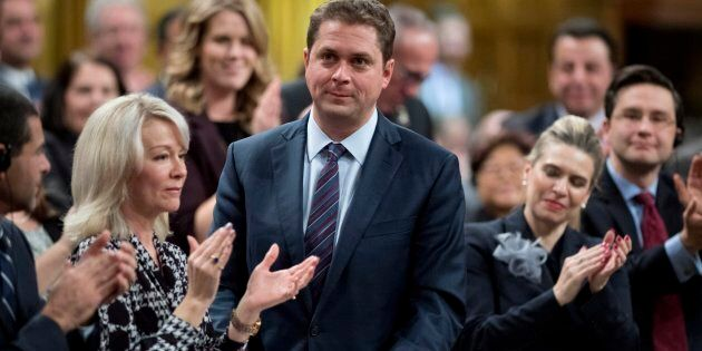 Conservative Leader Andrew Scheer speaks in the House of Commons on Nov. 20, 2017.