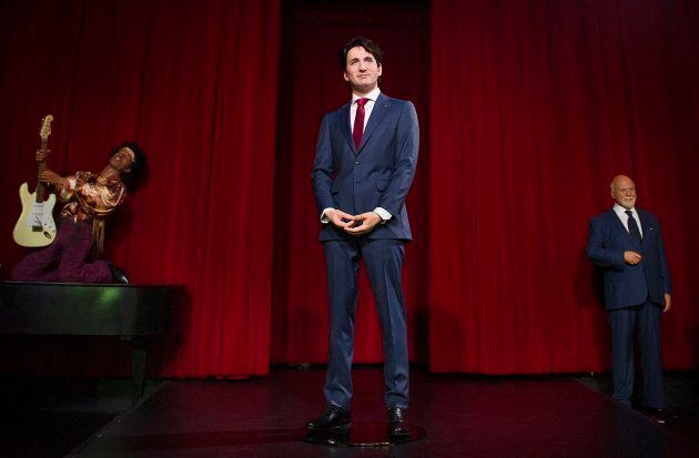 A wax sculpture of Prime Minister Justin Trudeau is shown during a ceremony at the Grevin museum in Montreal,