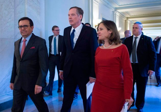U.S. Trade Representative Robert Lighthizer, Foreign Affairs minister Chrystia Freeland, and Mexican...
