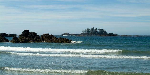 Waves crash on the rocks on Flores Island, Clayoquot Sound,