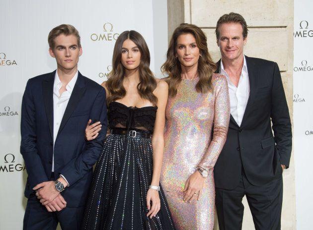 (L-R) Presley Gerber, Kaia Gerber, Cindy Crawford and Rande Gerber at Paris Fashion Week in Sept.