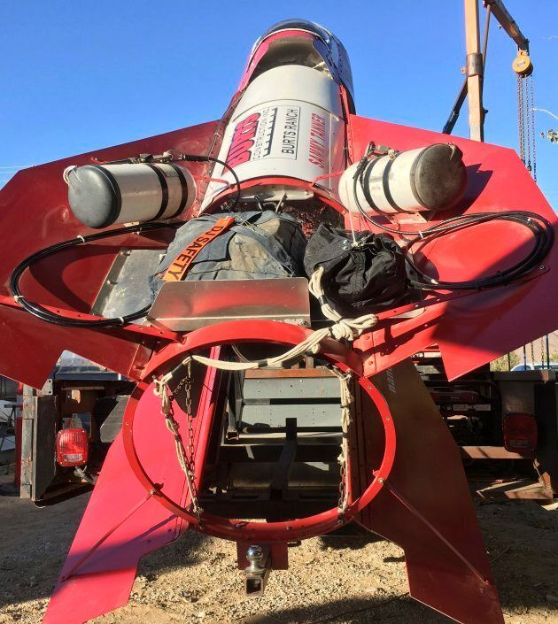 Mike Hughes' homemade, steam-powered rocket is shown on Nov. 15, 2017 on the property he leases in Apple...