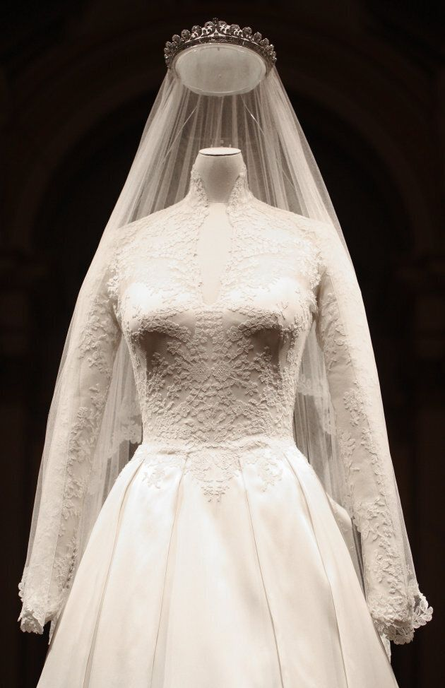 The wedding dress of Catherine, the Duchess of Cambridge, is pictured at Buckingham Palace on July 20,
