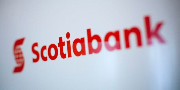A Scotiabank logo is pictured at the company's annual general meeting in Kelowna, B.C., April 8, 2014....