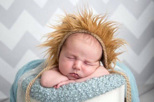 Caitlin Wilton's first baby, Bennett, poses in a lion hat posted on Facebook on Oct. 4,