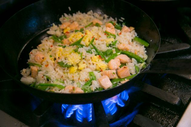 Ted Corrado, corporate executive chef for Drake Hotel Properties, shows how he makes salmon fried rice.