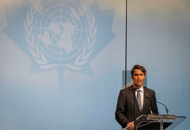 Prime Minister Justin Trudeau delivers a speech at the opening ceremony of the 2017 UN Peacekeeping Defense...
