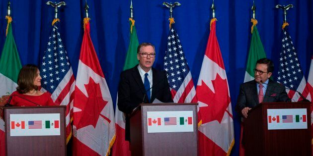 United States Trade Representative Robert Lighthizer, Canadian Foreign Affairs minister Chrystia Freeland,...