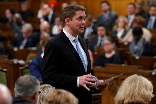 Conservative leader Andrew Scheer speaks during Question Period in the House of Commons on Parliament Hill in Ottawa, May 29, 2017.