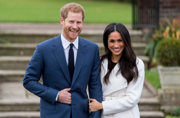Prince Harry and Meghan Markle during an official photocall to announce their engagement at Kensington...