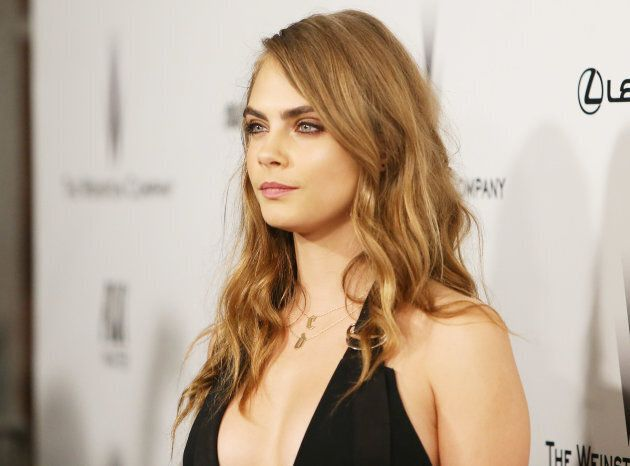 Cara Delevingne arrives at The Weinstein Company and Netflix Golden Globes afterparty held on Jan. 11,
