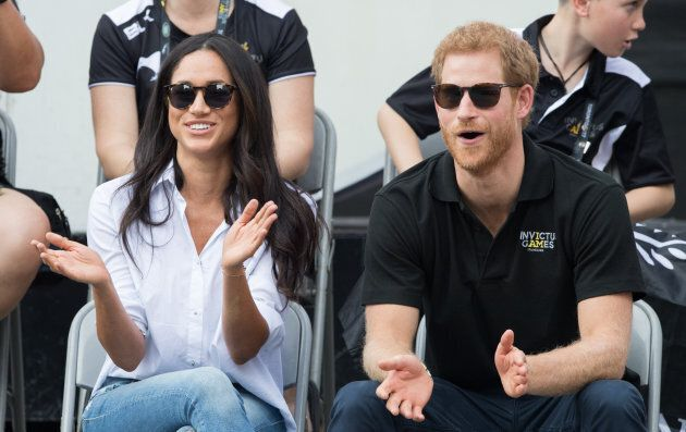 Meghan Markle and Prince Harry attend wheelchair tennis on day 3 of the Invictus Games Toronto 2017 on...