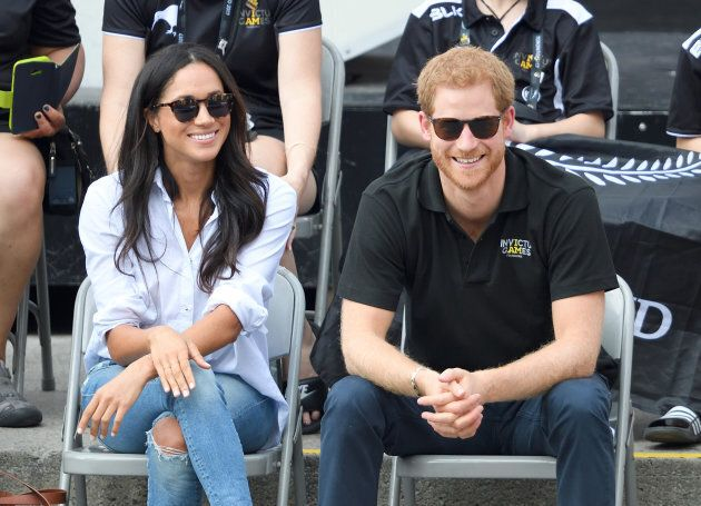Meghan Markle and Prince Harry attend the Wheelchair Tennis on day 3 of the Invictus Games on Sept. 25,...