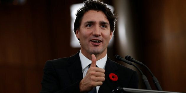Prime Minister Justin Trudeau gives a thumbs up during a news conference in Ottawa on Nov. 3,
