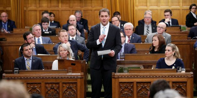 Conservative Leader Andrew Scheer speaks during question period in the House of Commons on Nov. 21,
