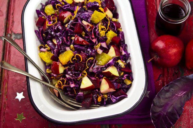 Red cabbage apple and orange festive salad