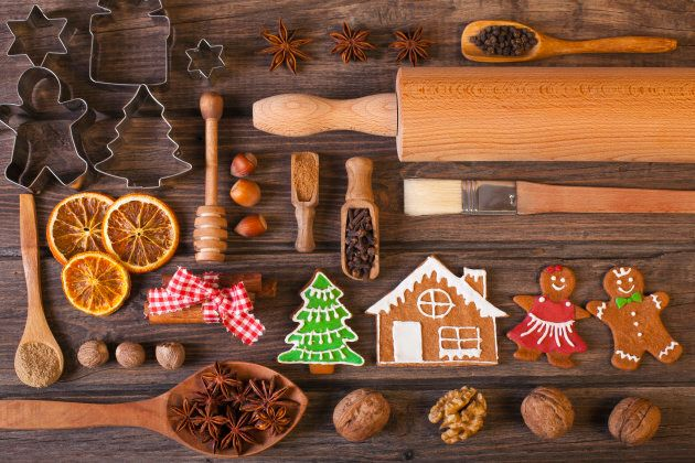 Christmas homemade gingerbread cookies on wood table. Used gingerbread cookies home-handedly made it...