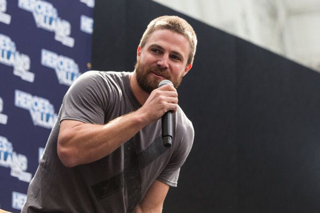 Stephen Amell is interviewed on day two of the Heroes and Villians Convention at Olympia, London on May 28, 2017.