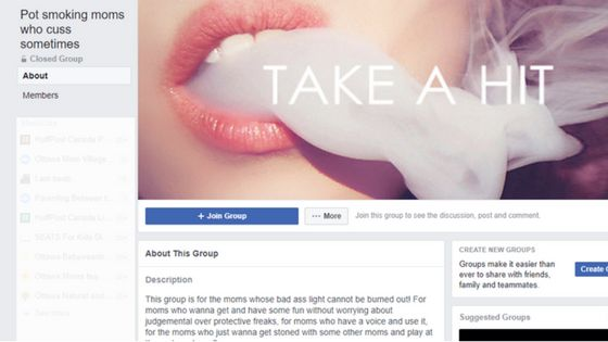 "The Facebook community ""Pot smoking moms who cuss sometimes"" has over 2,600 members."
