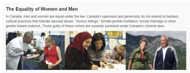 """A screengrab of the current """"Discover Canada"""" citizenship guide referencing """"barbaric cultural practices."""""""