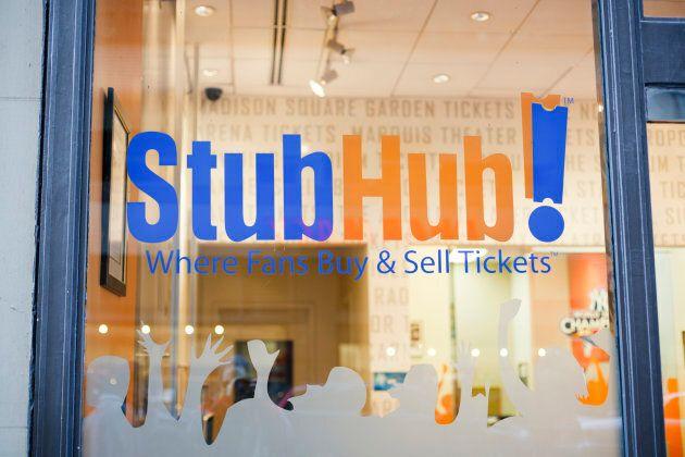 The window of a StubHub office in midtown